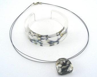 Pebble Pendant and Bangle, Jewellery Gift Set