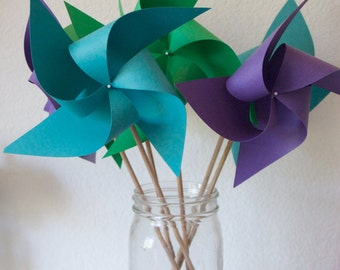 Jewel Colored Pinwheels Wedding favor Birthday favor Peacock Decorations 6 regular Pinwheels (Custom orders welcomed)