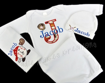 Baby Baseball Outfit - Baseball Themed Baby Set - Baby Gown - Baby Beanie Hat - Burp Cloth - Newborn Gown - Baby Shower Gift - Baby Boy