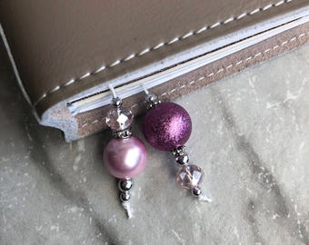 BEADED BOOKMARK for Travelers Notebooks | Planners | Journals | Books PINK with crystal and silver accents
