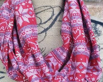 Fair isle scarf - fair isle infinity scarf - Christmas scarf - winter scarf - fashion scarf - red scarf - fair isle - circle scarf