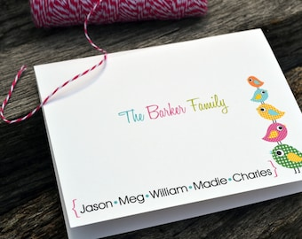 Personalized Family Stationery / Personalized Bird Stationary / Personalized Note Cards / Stationery Set -Personalized Bird Family Notes