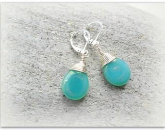 Teardrop Cloudy Seafoam Jade Earrings Czech Crystal Earrings Wire Wrap Earrings Seafoam Etsy UK Bridesmaid Earrings Glass Tear Drop
