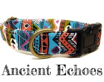 "Blue White Olive Green Salmon Black Bohemian Southwestern Dog Collar - Organic Cotton - Antique Metal Hardware - ""Ancient Echoes"""