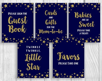 SALE Twinkle Twinkle Little Star Printable 8x10 Baby Shower Sign Package - Midnight Blue Gold Glitter - Gender Neutral - Instant Download