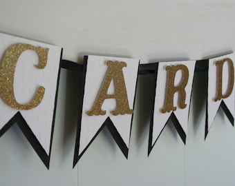Cards Banner - Wedding Sign - Wedding Banner - Black and Gold Banner - Wedding Reception Decor