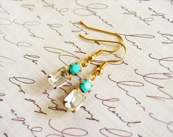 Small Glass Dangle Earrings in Crystal and Turquoise Blue, Little Glass Gemstone Earrings