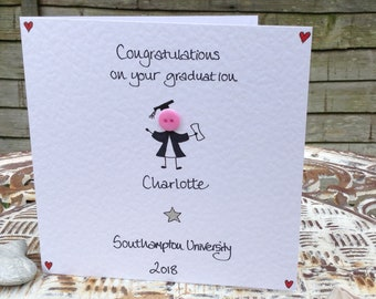 Personalised handmade button Congratulations on your Graduation card for girl boy girlfriend boyfriend daughter son card for Graduation