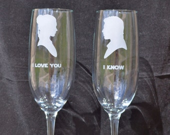 Star Wars inspired Glasses Your Choice for Star Wars Wedding, Couple Toast by Jackglass on Etsy