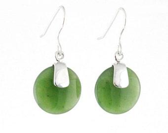 Canadian Nephrite Jade Earrings, 0056 - Green Jade - Natural Jade - Jade Gift