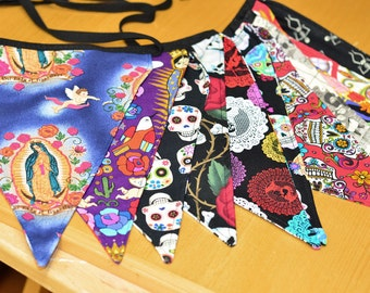 Day of the Dead Themed Cotton Fabric Bunting, Banner, or Flags