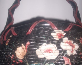Antique Hand Painted Bamboo BASKET