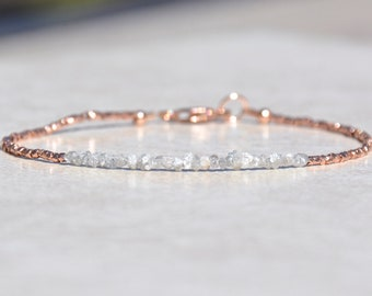 Diamond Bracelet, Mothers Day Gift, Raw Rough Diamonds, Delicate Rose Gold Vermeil Bracelet, April Birthstone, Beaded Gemstone Bracelet