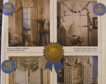 McCall's Home Dec In a Sec 8772 Curtain Patterns 1995 CUT And All Present