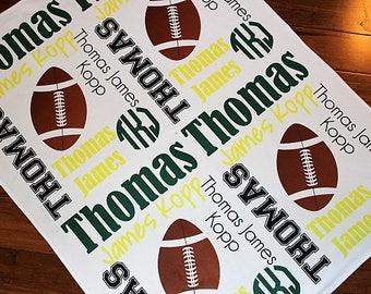 Personalized Football Baby Blanket ~ Football Blanket ~ Monogram Blanket ~ Sports Blanket ~ Photo Prop ~ Name Blanket