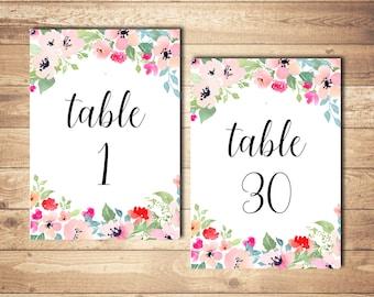 Wedding table numbers printable Wedding numbers Printable table numbers Floral table numbers Floral wedding decor Wedding reception decor