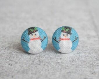 Snow Men Fabric Button Earrings
