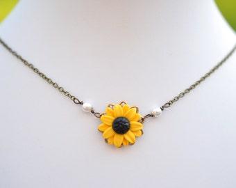 Bradley Delicate Simple Drop Necklace in Golden Yellow Sunflower. Sunflower Simple Drop Necklace