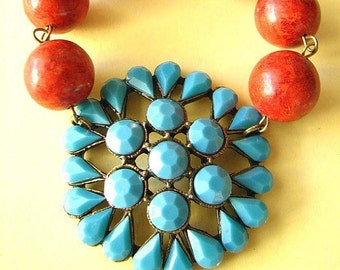 Statement Necklace Turquoise Jewelry Coral Necklace Statement Jewelry Turquoise Necklace Pendant Necklace