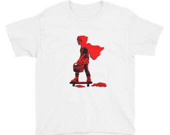 Red Riding Hood auf einem Skateboard von Billy Lilly Jugend Kurzarm T-Shirt