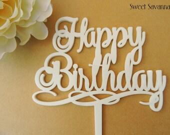 Happy Birthday Cake Topper N4 - Fancy Happy Birthday