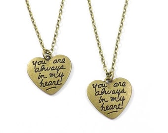 2 Always in My Heart Necklaces, Boyfriend Girlfriend Jewelry, His Hers Couples Jewelry, Bronze Heart,  Best Friends Jewelry