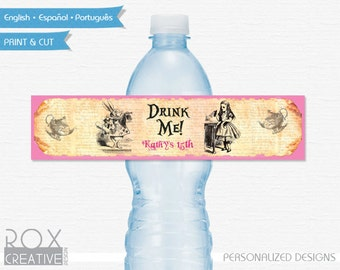 Alice in Wonderland Party Water Labels, Printable Labels, Digital – Customized