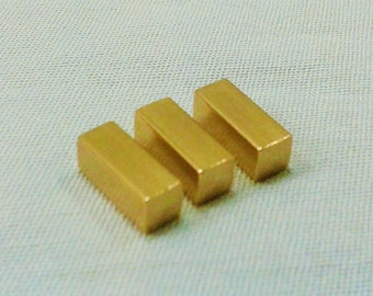 10 Pcs Raw Brass 4 x 10 mm Rectangle Findings - Rectangle Connector ( No  Hole -Thickness Of 4 mm ) 6 Gauge