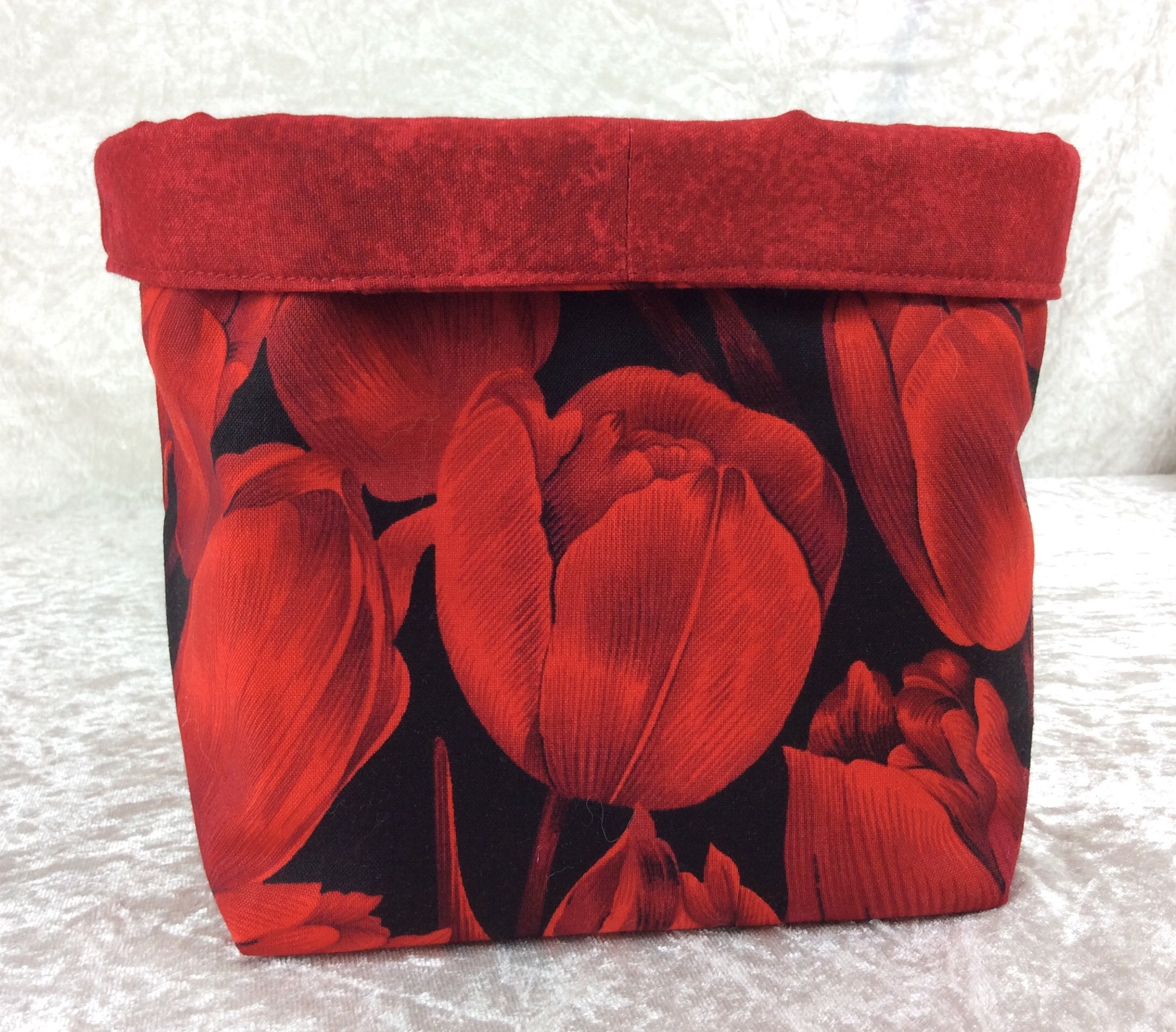 Image of Red Tulips fabric basket storage bin box flowers
