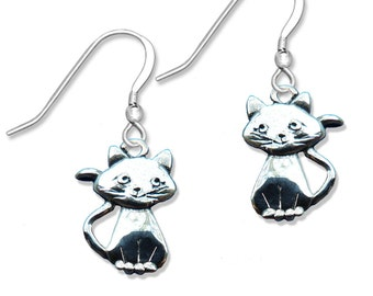 Sterling Silver Smiling Cat Earrings