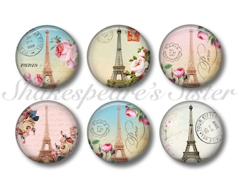 Eiffel Tower - Paris Magnets - Fridge Magnets - 6 Magnets - 1.5 Inch Magnets - Kitchen Magnets