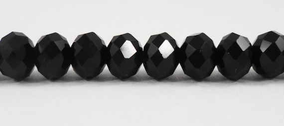 """Black Crystal Beads 6x4mm (4x6mm) Opaque Black Crystal Rondelle Beads, Faceted Chinese Crystal Glass Beads on an 8 1/2"""" Strand with 50 Beads"""
