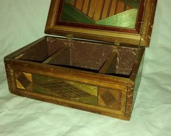 Antique American Folk Art , Marquetry Jewelry Box , Inlay , Star ,  Fan Pattern Box , AAFA