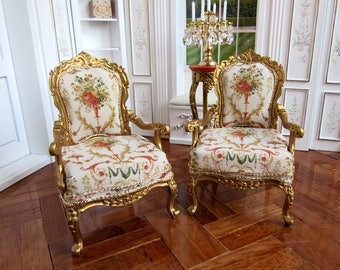 "1:12th Scale ~ Dolls House ~ French Fauteuil Chair ~ Upholstered with ""Les Deux Pigeon"" Silk by Susan Bembridge {Price for One Chair}"