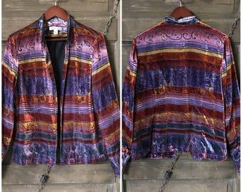 Vintage 90's Colorful Striped Burnout Velvet Jacket by Coldwater Creek size Medium
