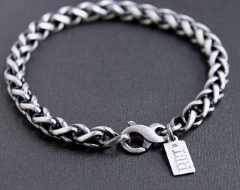 Men's Heavy 6mm Silver Wheat Chain Bracelet