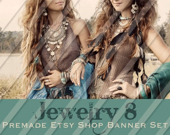 "Etsy Shop Banner Set - Graphic Banners - Branding Set - ""Jewelry 8"""