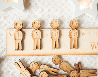 20 x Groom Wooden Shapes Card Making Embellishment Wedding Shapes