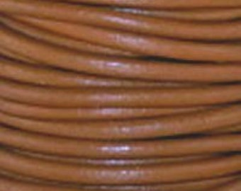 1.5mm Henna Brown Round Leather Cord  6 Feet Or 2 Yards (1.82 m)