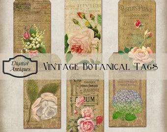Jahrgang botanische Tags Collage Blatt Digital Download