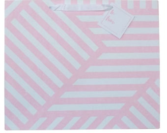 Luxury Geometric ZigZag Pink and White Gift Bag (Pack of 3)