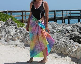 Tropical Rainbow ... hand painted silk sarong