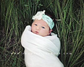 Girls lace headband/ Newborn lace headband/ Baby girl headband
