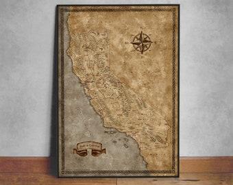 Fantasy Map of California Cities, CA map, California map, State of California gift, California State Map, California Poster, CA state map