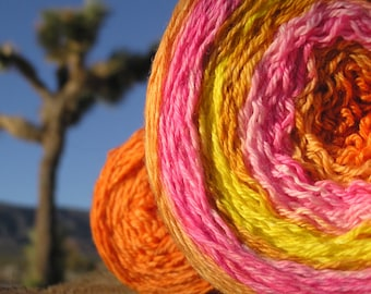 Sport Weight Yarn - Custom Dyed Shawl Yarn -Desert Sunset