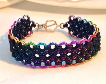 Rainbow Silver Reversible Chainmaille Cuff Bracelet - Aluminum & Rubber - Japanese 12-in-2 - Chainmail Jewelry