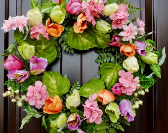 Spring Wreath~Mixed Floral Wreath~Hydrangea wreath~Tulip wreath~Mother's Day wreath~Front Door Wreath~Wreath with Bright Colors~