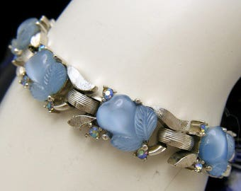Crown Trifari Blue Fruit Salad Glass AB Rhinestone Bracelet Silver Tone