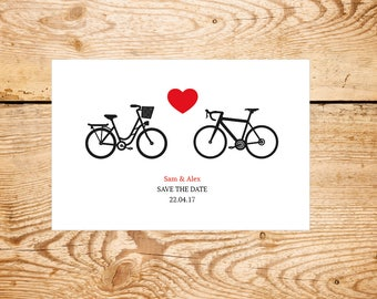 A bicycle made for two - Bike themed save the date and wedding invite