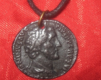 Replica Ancient Roman Antonius Pius Coin Pendant Necklace